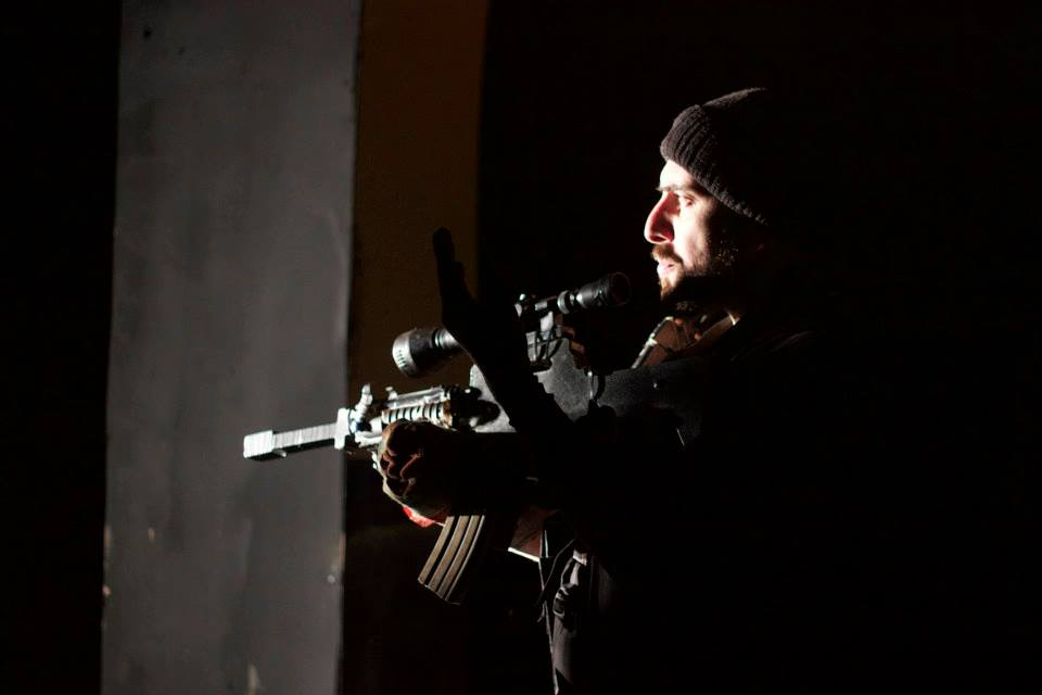 ''The Siege', one of The Freedom Theatre's most successful productions, based on real-life testimony of Palestinian fighters trapped inside the Church of the Nativity in Bethlehem for 39 days in 2002, © The Freedom Theatre