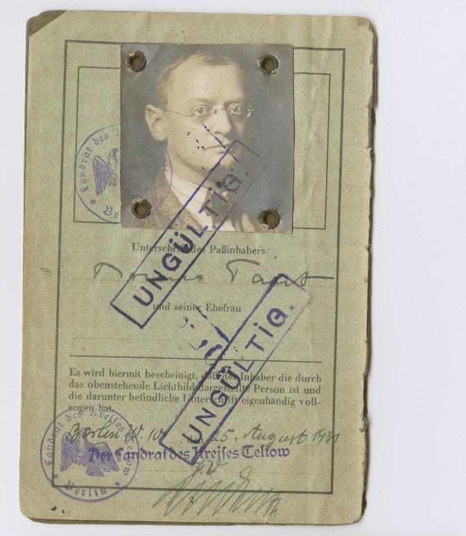 Pass von Bruno Taut, Kreis Teltow, ausgestellt am 25. August 1931 © Akademie der Künste, Berlin